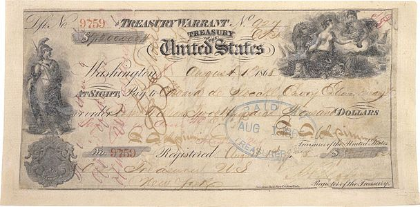 Check used for the Alaska Purchase, by Eduard de Stoeckl and William H. Seward