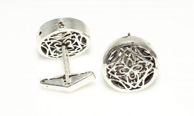 925 Ayar Gümüş Ajor Desenli Yuvarlak Kol Düğmesi
