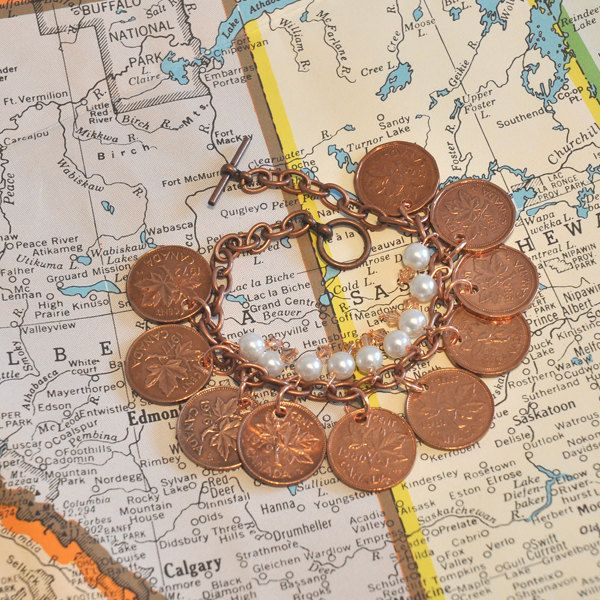 Upcycled Repurposed Canadian Coins Pennies by CollingbrookDesigns, $14.00