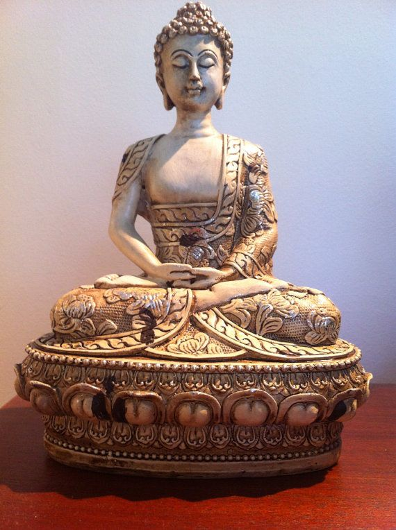 Meditating Classical Buddha Statue On Lotus Throne Spiritual Shakyamuni Zen Peaceful Asian Ivory Look Sculpture