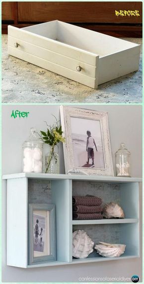 DIY Dresser drawer Bathroom Shelf Instruction - Practical Ways to Recycle Old Drawers for Home #Furniture Repinned by*Doniele  Disney *www.justaddtwins.com