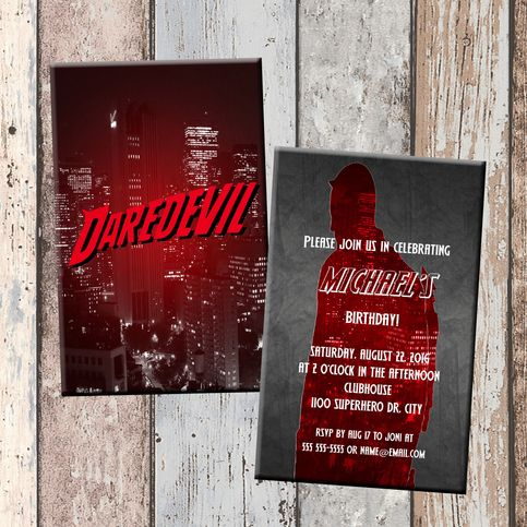 17 best all bout party ideasthemes daredevil images on pinterest daredevil superhero personalized birthday invitation 2 sided birthday card party invitation superhero party from scg designs stopboris Images