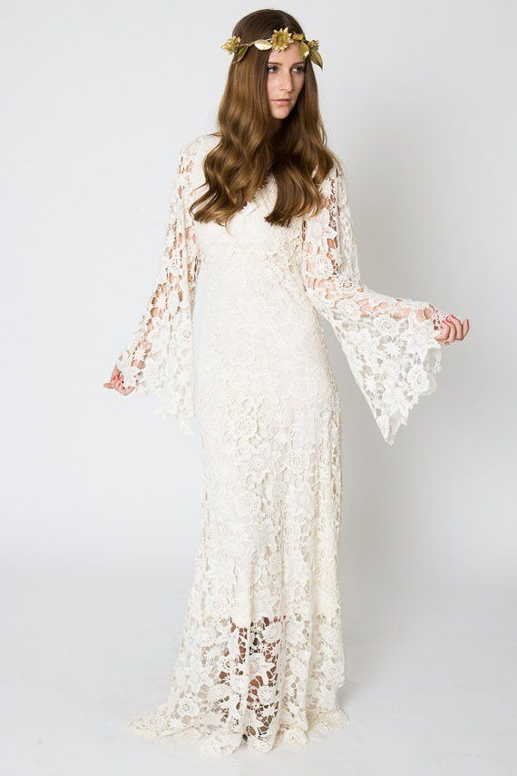 Vintage Inspired Bohemian Wedding Gown Bell Sleeve Lace Etsy Bohemian Wedding Dress Lace Wedding Dresses Hippie Bohemian Wedding Gown