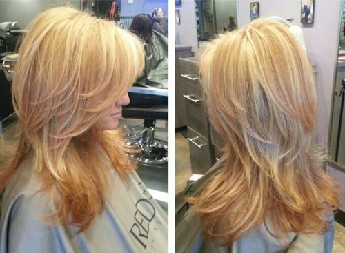 Golden blonde with strawberry blonde. Also love the cut.