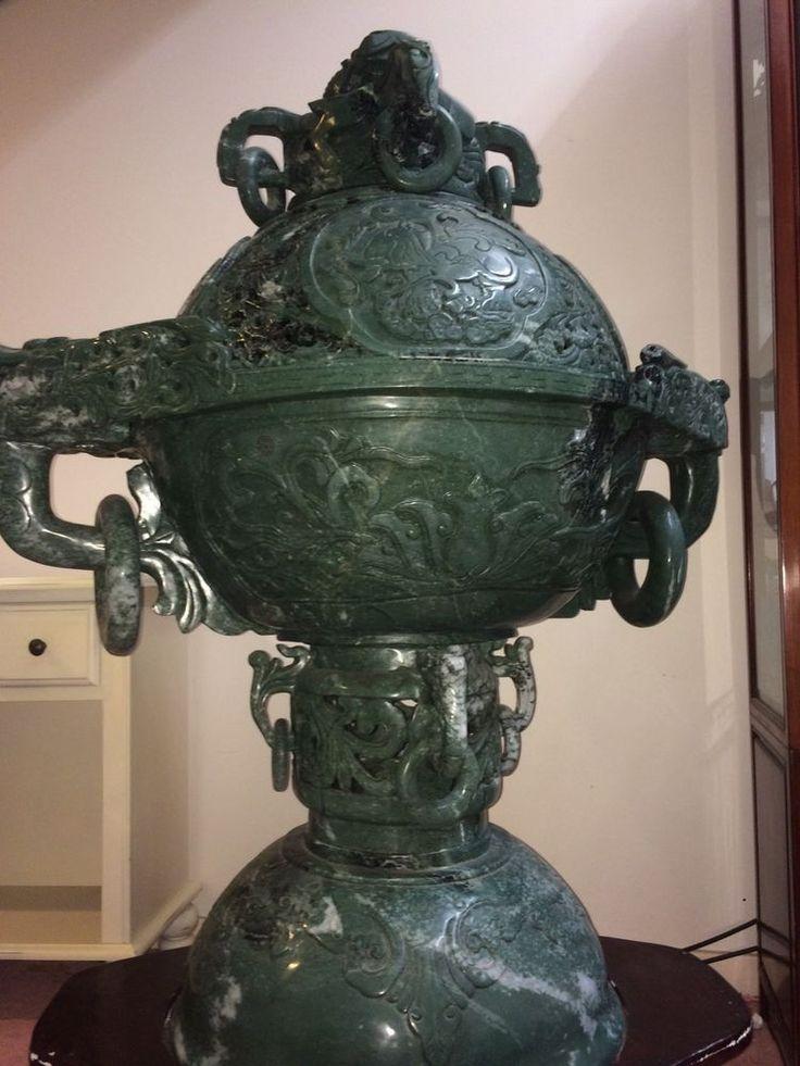 Massive Antique Jade Censer 4 Feet Tall