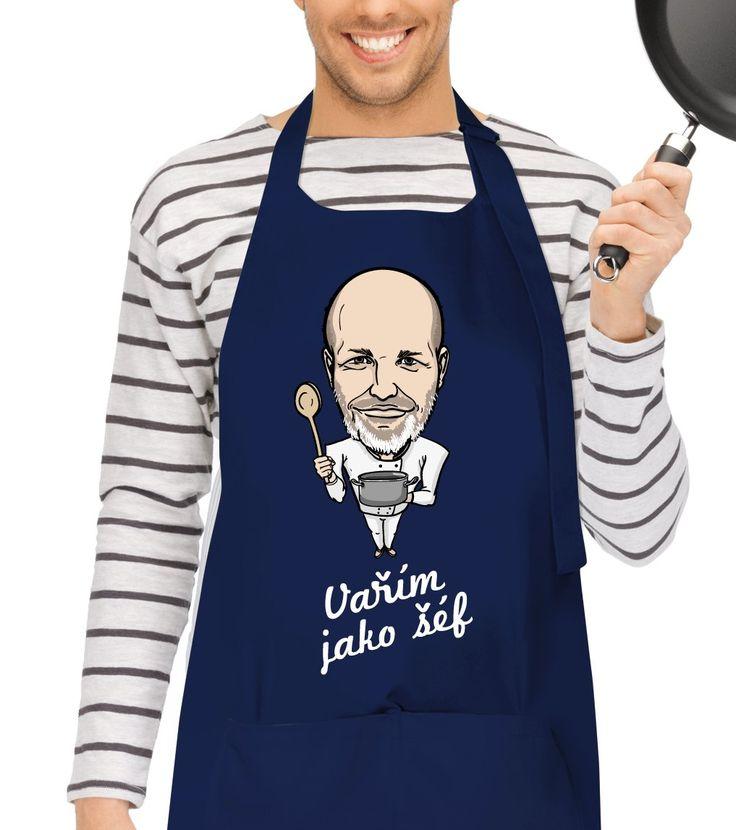 """Vtipná kuchařská zástěra jak pro muže tak pro ženy se Zdeňkem Pohlreichem. Originální dárek k narozeninám, k svátku nebo Vánocům. Nabízíme do série s ostatními produkty v sekci """"související zboží"""