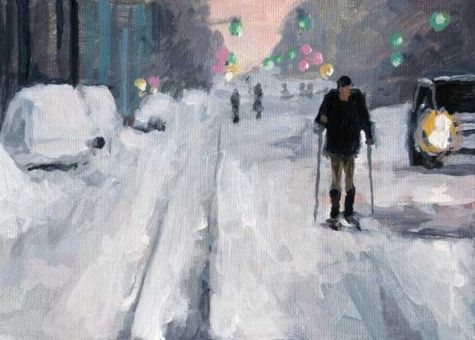 City Skier Acrylic 5 X 7 Urban Snow Scene Original Art