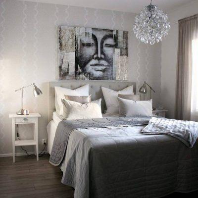 Graafinen taulu tuo persoonallisuutta makuuhuoneen sisustukseen