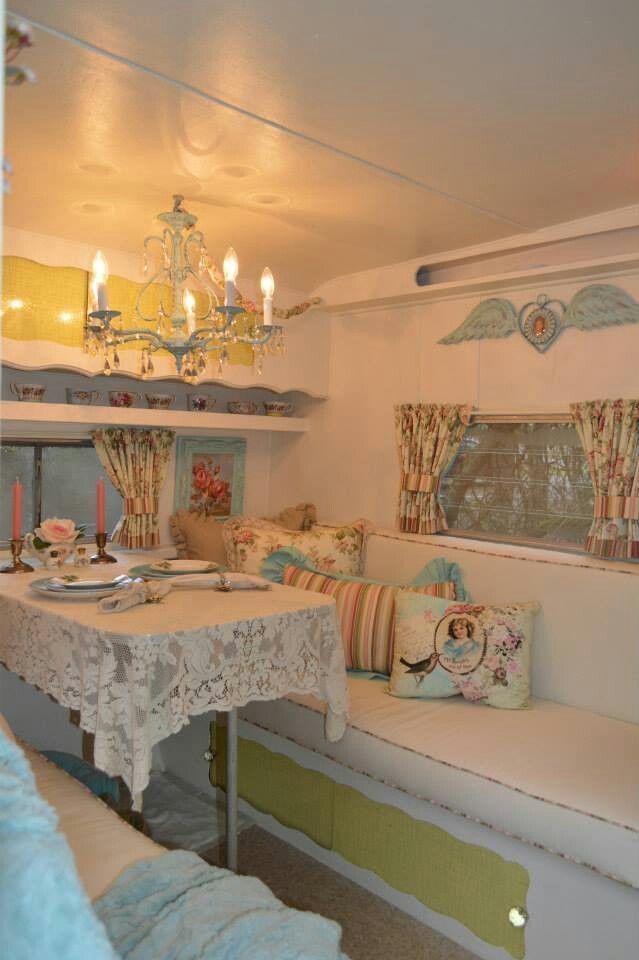 (image) Vintage Shabby Chic Camper ~ Glamper! (Glamorous Camper) ~~~ Great use of chandelier