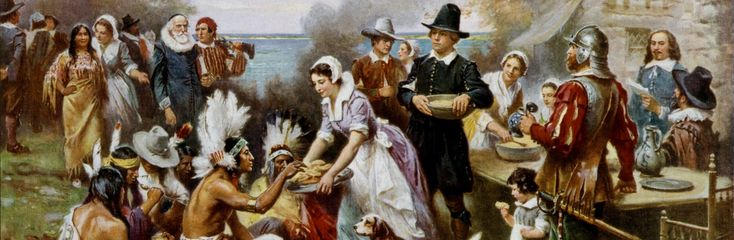 Painting of Pilgrims and American Indians enjoying Thanksgiving meal