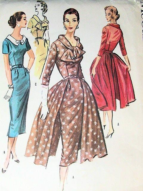 McCALLS 3750 DRESS PATTERN VINTAGE 1950s SLIM FITTED DRESS, EVENING OVERSKIRT, 2…