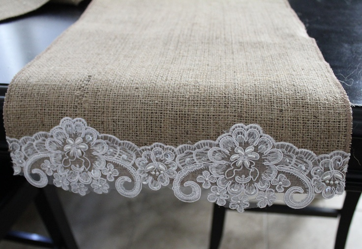 Burlap and Beaded Lace Table Runner, @Mary Powers Powers Powers Powers Andersen and @Joan Gordon Arnold, check out this etsy shop for your wedding :)