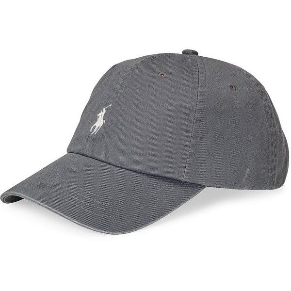 Polo Ralph Lauren Classic Chino Sports Cap ($40) ❤ liked on Polyvore featuring men's fashion, men's accessories, men's hats, grey, embroidery hats, polo ralph lauren hats, sport caps, sports hats and embroidered hats