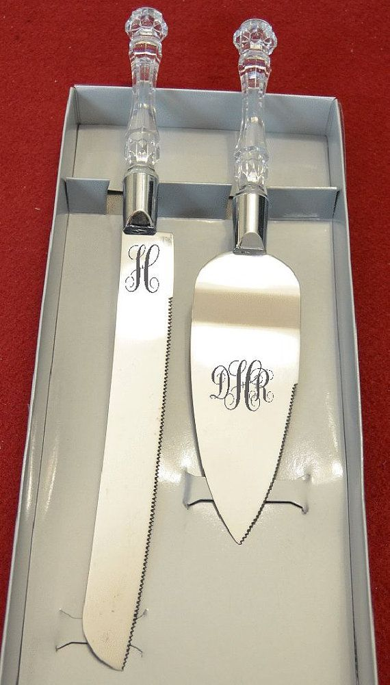 Cake Knife is 13 long, The Server is 10.5 x 2  This is the popular Faux crystal handle set that I have added the etched monogram initials that