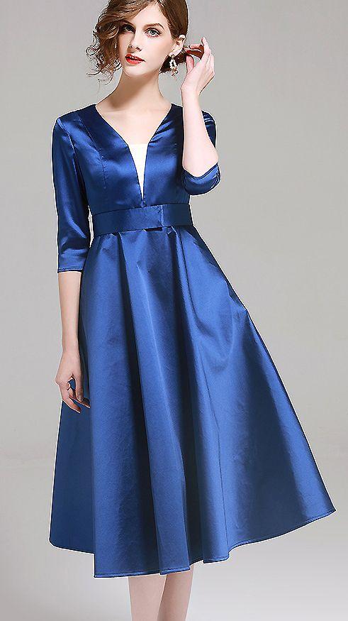 e19ce0d044f Fashion V-Neck Pure Color Party A-Line Dress
