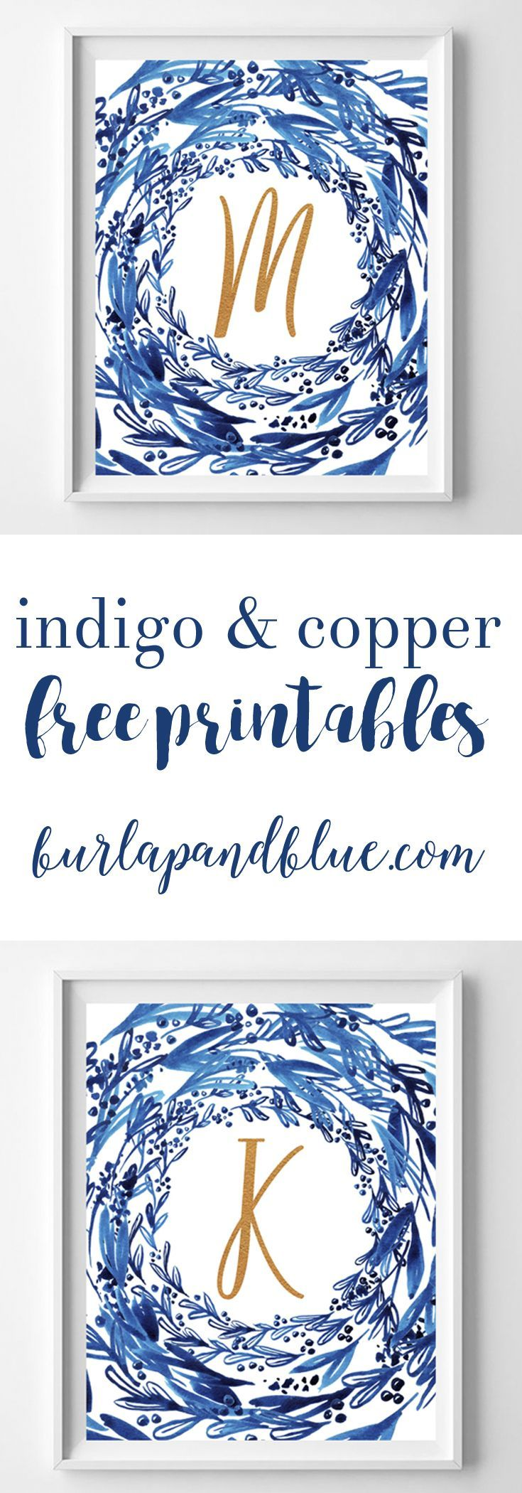 Free watercolor printable initials in indigo and copper. These free printables are the perfect wall art idea or gift!