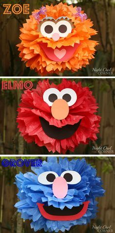 Homemade Sesame Street character poms - so cute! Child's party