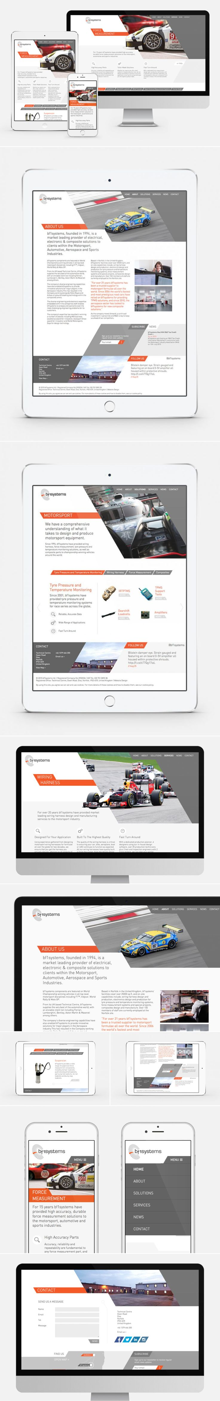 A responsive website designed for bf1systems, a motorsport manufacturer. Featuring bespoke animated slideshows and UI.