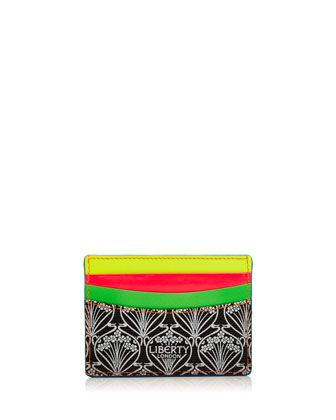 Iphis+Printed+Canvas+Credit+Card+Holder,+Neon+by+Liberty+London+at+Neiman+Marcus.