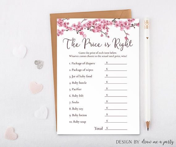 Cherry Blossom Baby Shower , The Price Is Right , Girl Baby Shower Game , Cherry Blossoms , Guess The Price , Printable , Instant Download