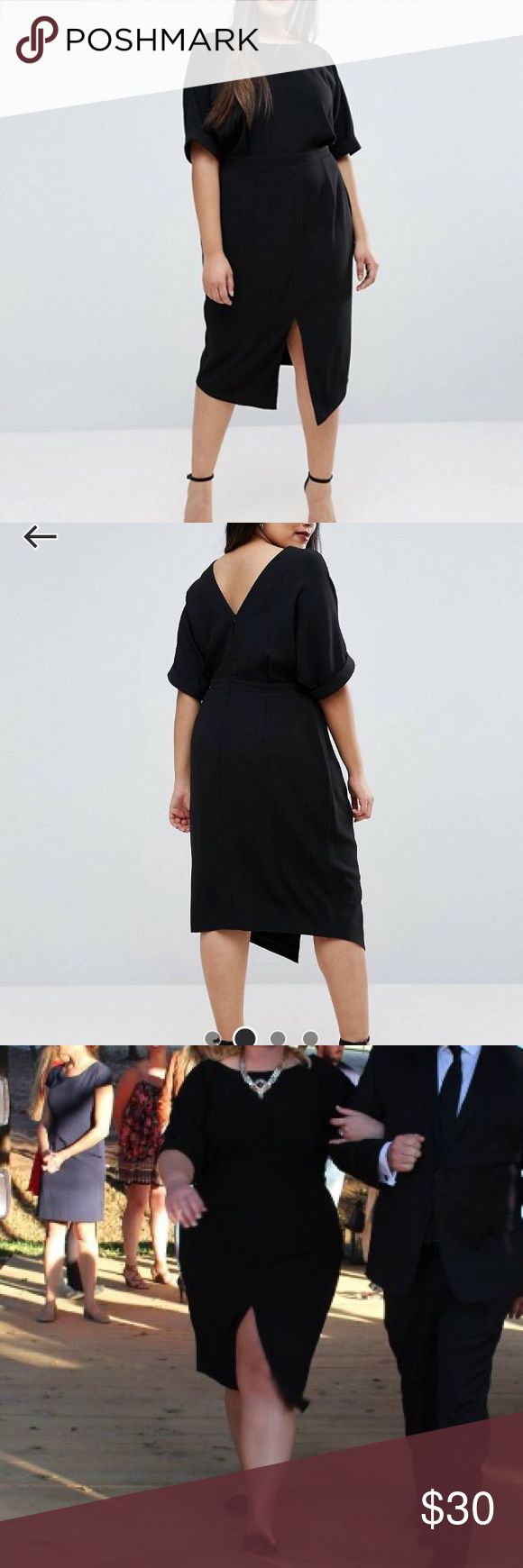 Black Midi ASOS Curve Wiggle Dress with Front Slit Black Midi ASOS Curve Wiggle Dress with Front Slit ASOS Curve Dresses Midi