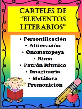 This product is completely in SPANISH and contains anchor charts/posters in regards to ALL Element Literary charts in SPANISH.  These posters can be used as a guide to help students remember all the elements in poetry.  This also can be used in the students interactive notebook as a reminder of all the elements in poetry.This products contains all the following:  Personificacin  Aliteracin  Onomatopeya  Rima  Patrn Rtmico  Imaginaria  Metfora  PremonicinCustomer Tips: How to get TPT credit…