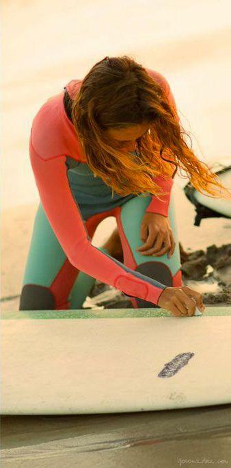 Sunrise surf, wetsuit, surfboard, beach, New York / Garance Doré