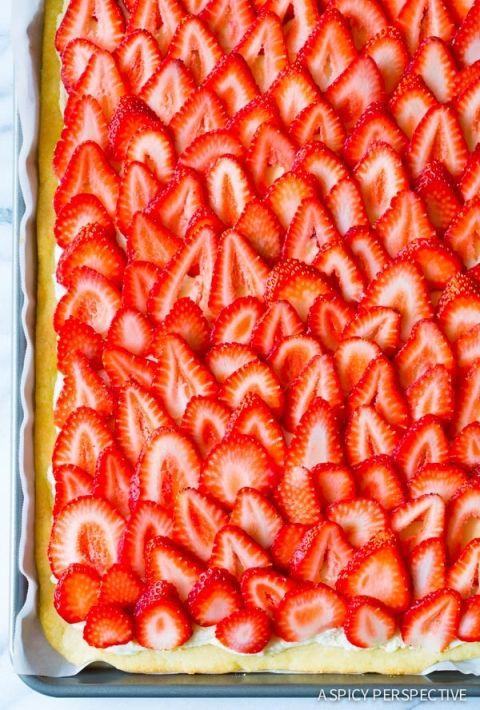 Love! The BEST Strawberry Pizza - on ASpicyPerspective.com #strawberry #summer