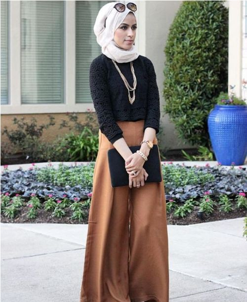 Tan palazzo pants with hijab-Hijabers fashion looks – Just Trendy Girls