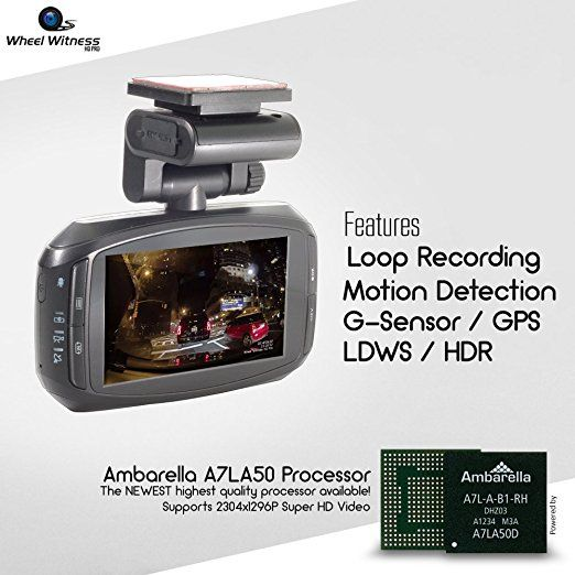 Advanced Driver Assistance WheelWitness HD Pro Dash Cam with GPS 16GB microSD 2K Super HD 170/Â/° Lens for 12V Cars /& Trucks Night Vision Dashboard Camera Ambarella A7LA50 Car Security DVR