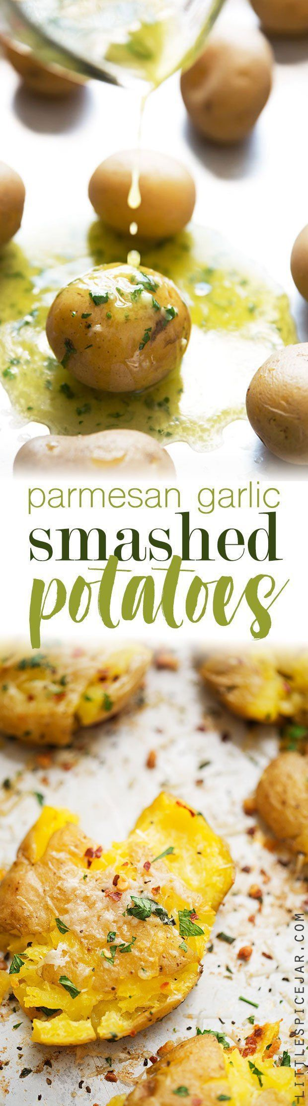 Parmesan Garlic Smashed Potatoes - an easy side dish or the perfect snack for football season! #smashedpotatoes #garlicsmashedpotatoes #potatoskins | http://Littlespicejar.com
