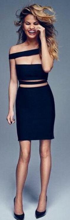 Who made Chrissy Teigen's black dress?