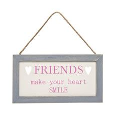Wilko Friends Cut Out Plaque Pink