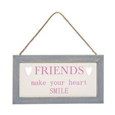 Wilko Friends Cut Out Plaque Pink