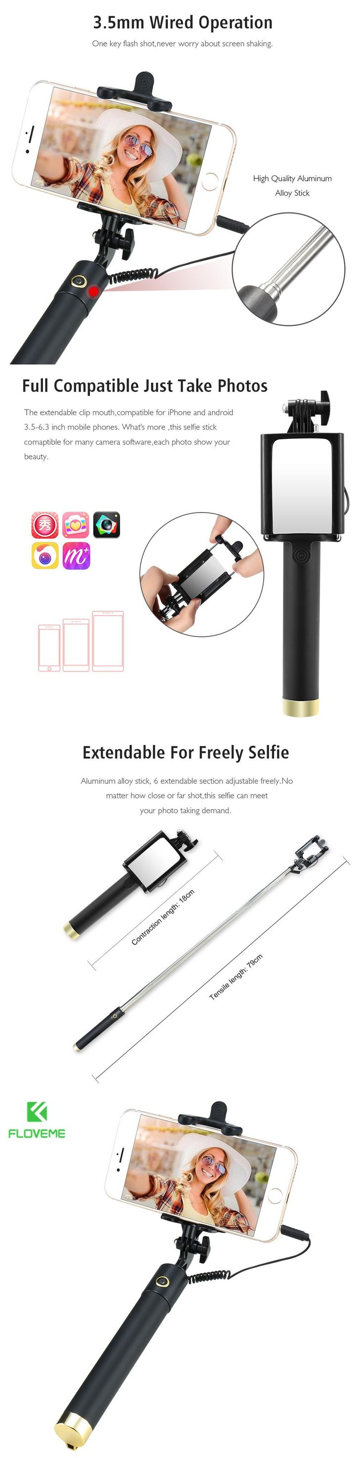 FLOVEME Selfie Stick For iPhone 7 128 Monopod Extendable Wired Selfi Selfie Stick with Mirror Perche Sticks Tripod Accessories