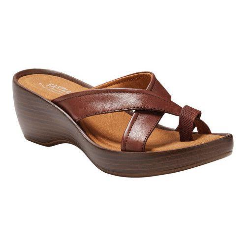 Women S Eastland Willow Wedge Sandal Walnut Leather
