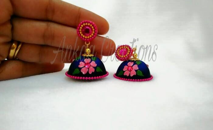 completely hand painted silk thread jhumka done for a beautiful customer..  plz visit our page https://www.facebook.com/ankaa.creations for more collections and do plz hit a like button..