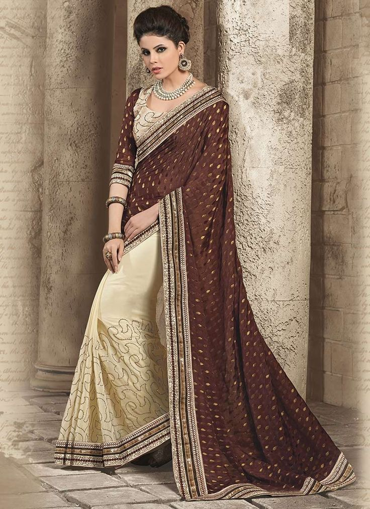 Be an absolute royalty of splendor in this beautiful brown and cream viscose designer half and half saree . This lovely attire is looking extra beautiful it's beautifully crafted with jacquard pattern...