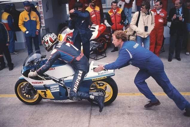 ready to race … Barry Sheene, DAF Heron-Suzuki RG500, 1984 Grand Prix of Nations, Misano