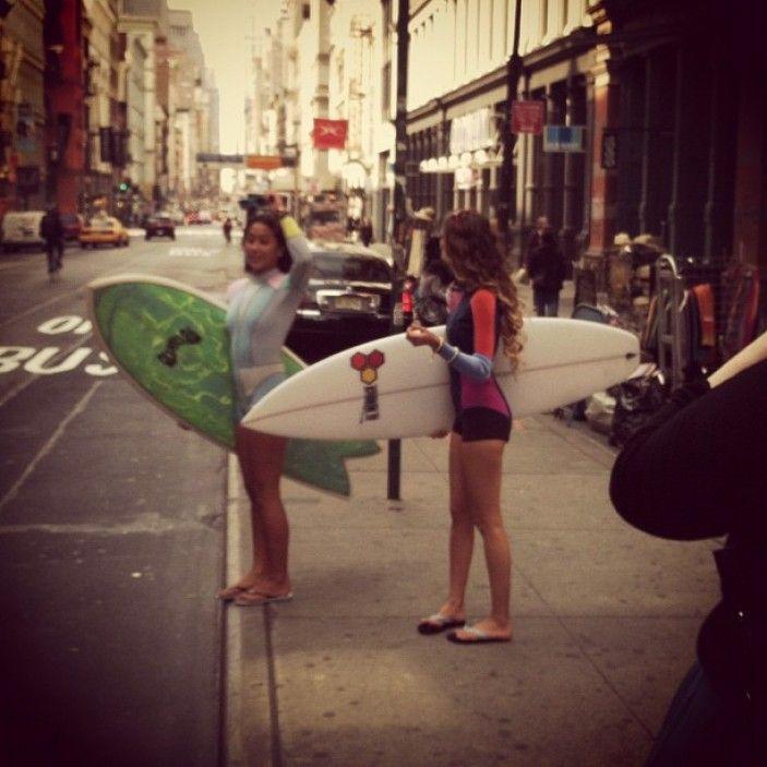 Monyca Bryne-Wickey & Kelia Moniz - Surf in the CitySurf Girls, Monyca Bryne Wickey, Kelia Moniz, The Cities, Surfers Girls, Surfin Girls, Beach Inspiration, Beach Life, Beach Hair