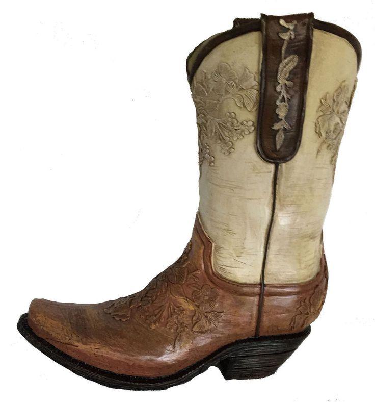 Cowboy Boot Vase Cream & Brown Resin Western Centerpiece New burton+BURTON