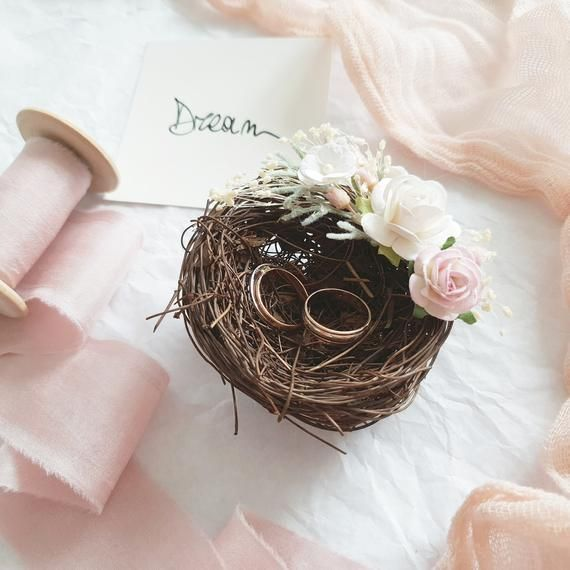 Blush Wedding Ring holder Wooden Wedding ring box Rustic Ring Box wedding decor Wedding Ring Box woodland Ivory Ring Bearer Box