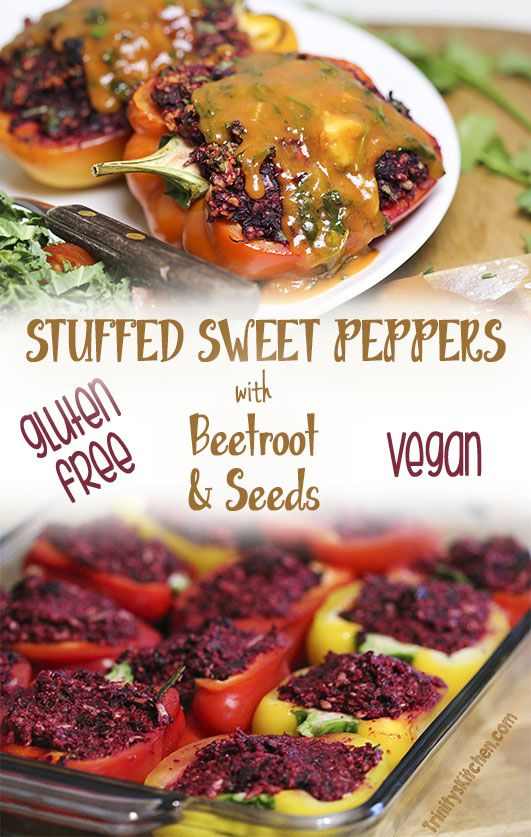 Stuffed Sweet Peppers with beets & sunflower seeds. #glutenfree #vegan #plantbased
