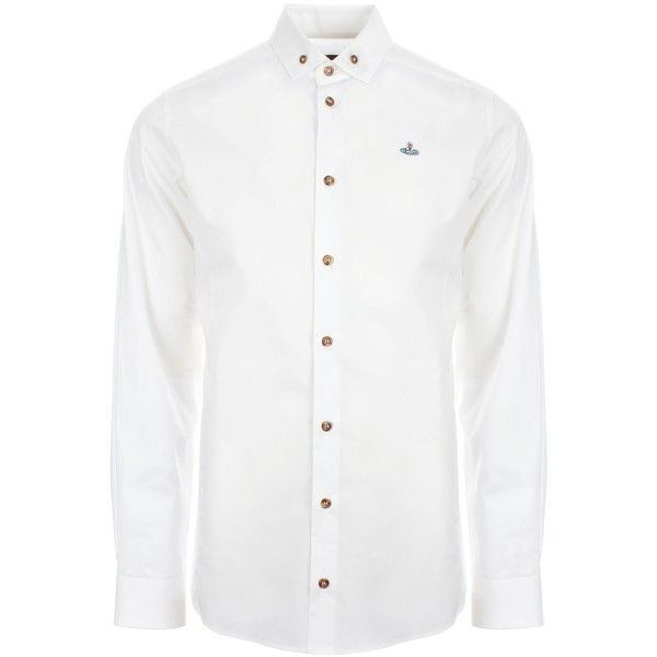 Vivienne Westwood Basic Stretch Poplin Button Down Shirt (£245) ❤ liked on Polyvore featuring men's fashion, men's clothing, men's shirts, men's casual shirts, mens white casual shirt, mens casual button up shirts, mens slim fit shirts, mens collared shirt and mens slim fit casual shirts