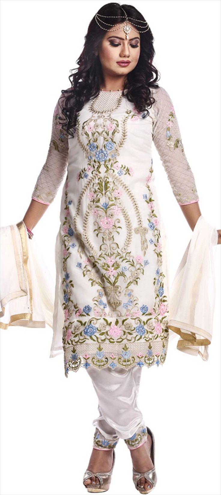 493956: White and Off White  color family  semi-stiched Party Wear Salwar Kameez .