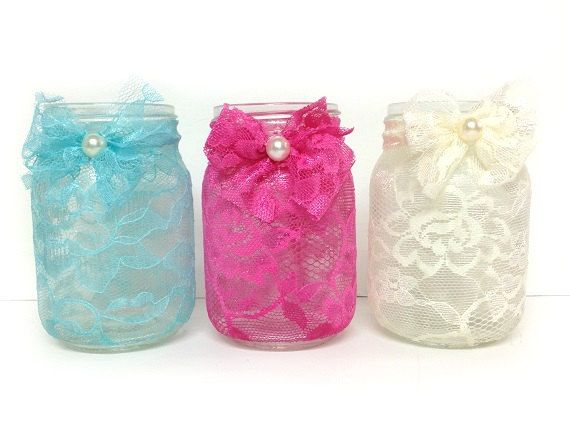 3 piece lace covered masoj jar candle holders or vase, weding deccor, bridal shower, home decor, gift or for you