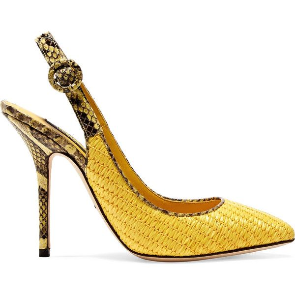 Dolce & Gabbana Raffia and croc-effect leather pumps (€365) ❤ liked on Polyvore featuring shoes, pumps, yellow, pointed toe high heel pumps, pointed-toe pumps, yellow pumps, wide width shoes and yellow high heel shoes