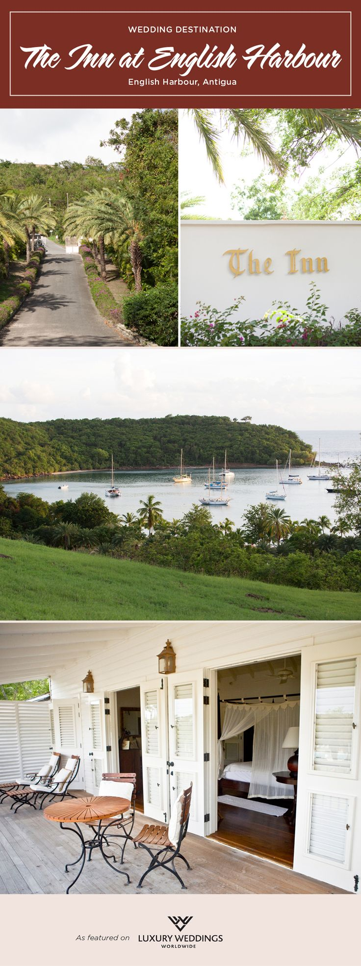 Scenic yet secluded, perfect for private weddings and honeymoons. The Inn at English Harbour delivers.   Antigua wedding, destination wedding, old world charm, classic villa, wedding location, honeymoon destination.