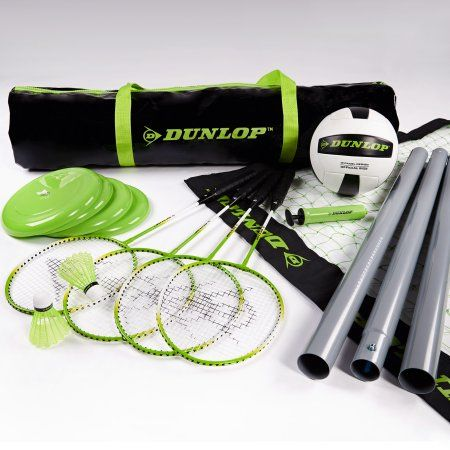 Dunlop Professional Volleyball Badminton Games: Classic Outdoor Lawn Game Set with Carry Bag, Black