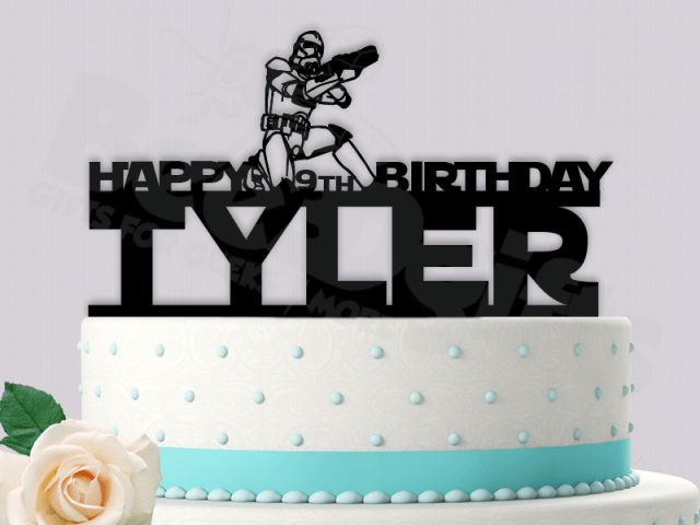 Stormtrooper Happy Age Birthday Starwars Personalized Event Cake Topper